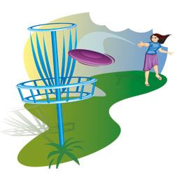 Clip Art showing girl playing Disc Golf