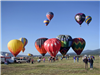 Some Hot Air Balloons Flying and Others on the Ground